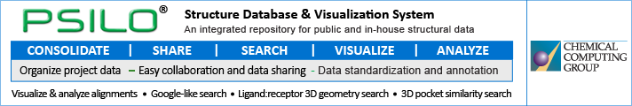 PSILO - Protein Structure Database and Visualization System: Visualize and Analyse Aligments, 3D pocket similarity search, Ligand:receptor 3D geometry search...